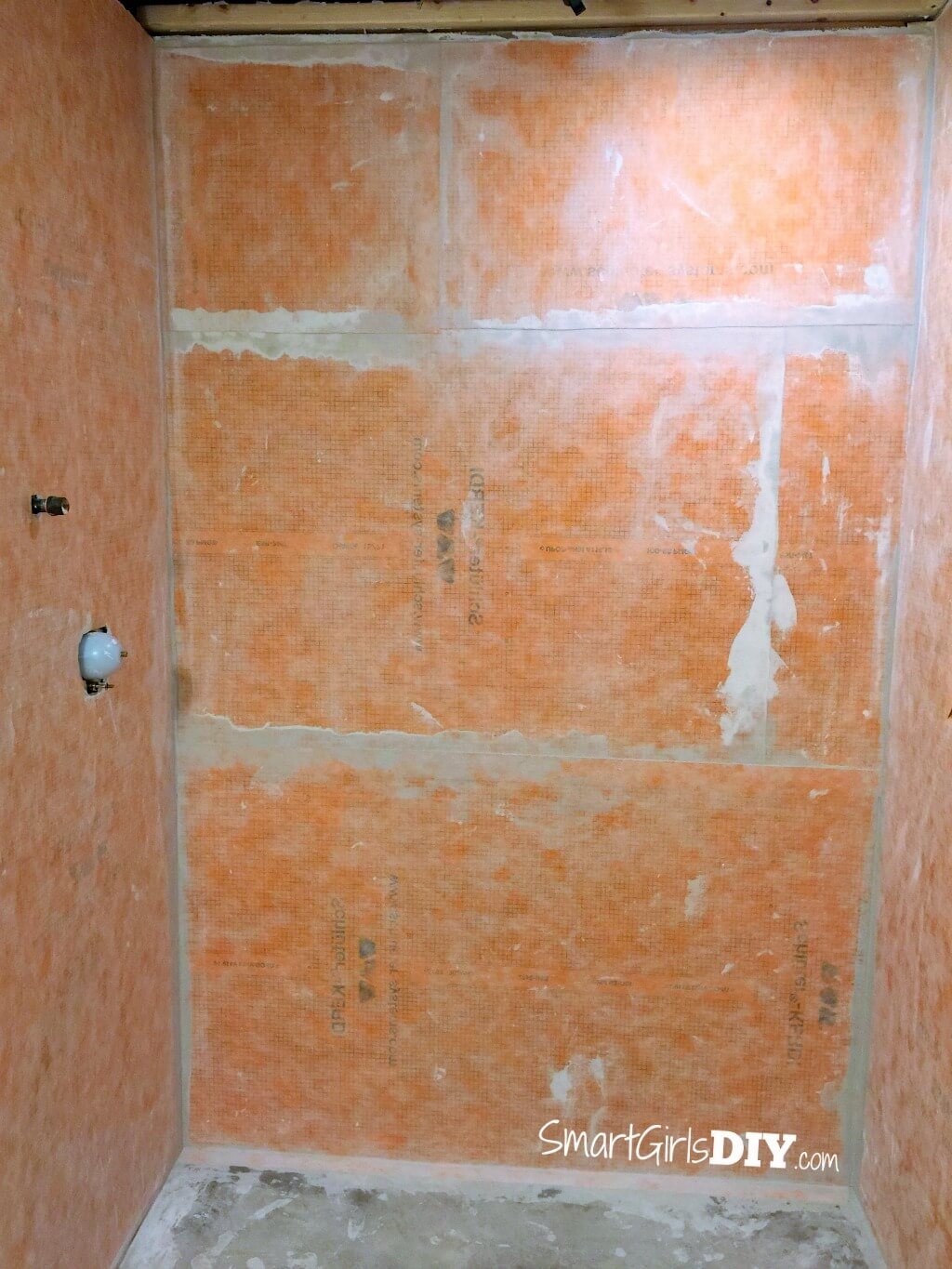 Schluter Kerdi installed on shower walls - shower floor is next