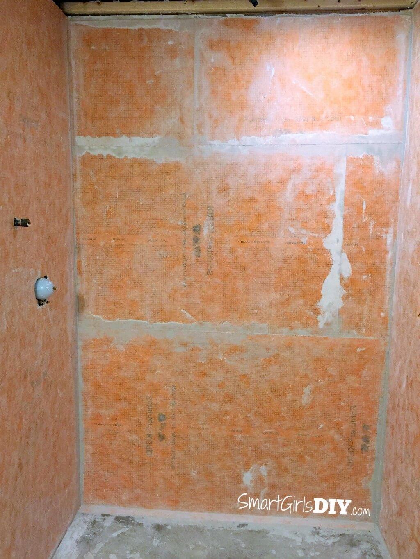 schluter kerdi installed on shower walls shower floor is next