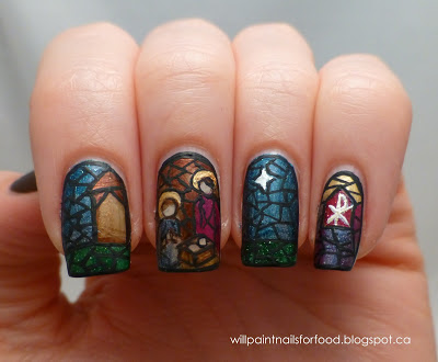 Nativity scene nail art - so cool!