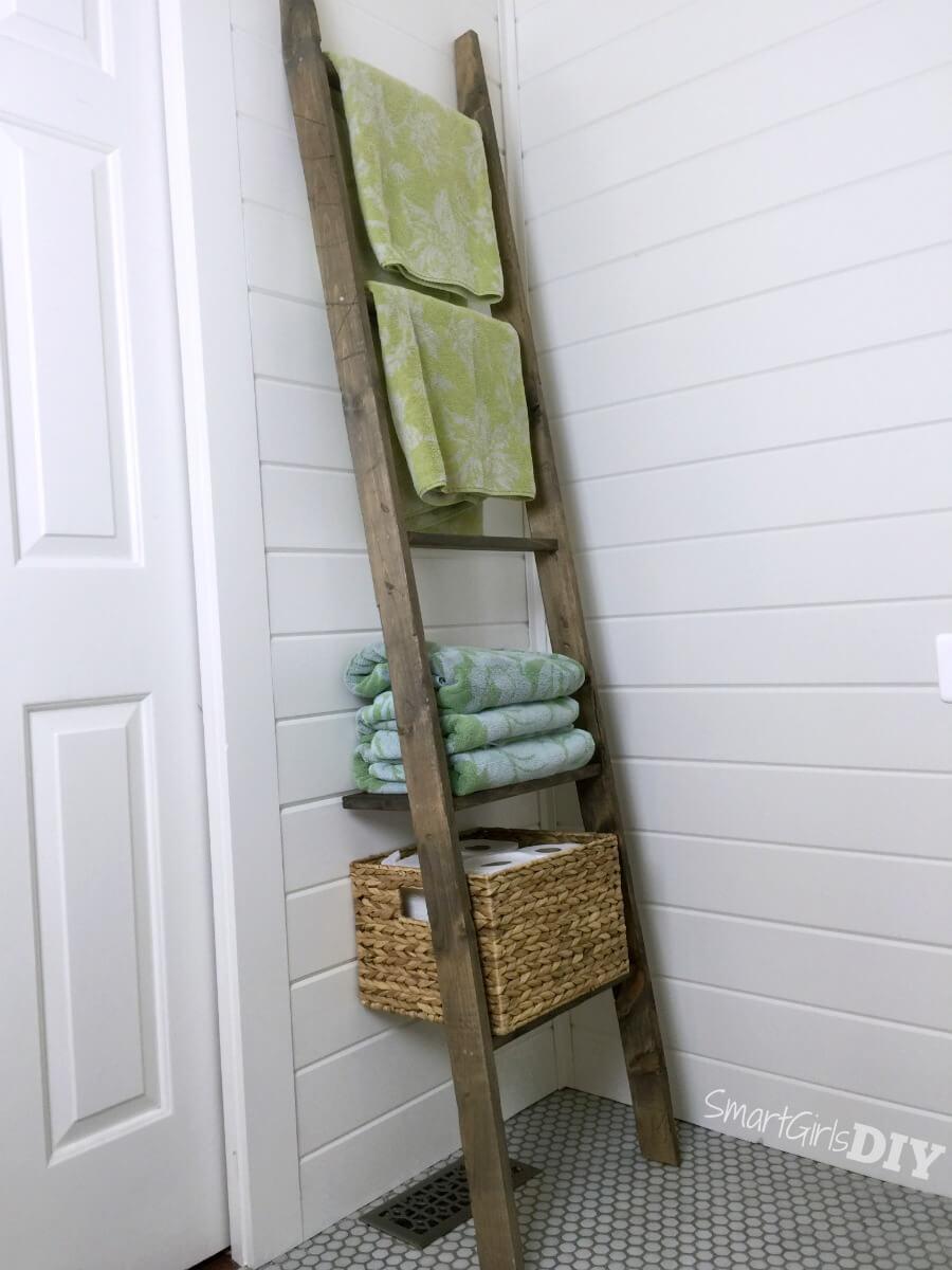 Bathroom Storage Ladder U2013 One Board Challenge