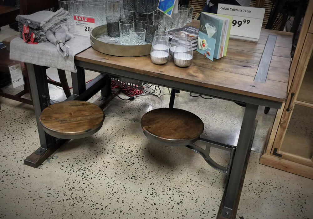 Cafeteria table with swing out stools found at World Market Shrewsbury