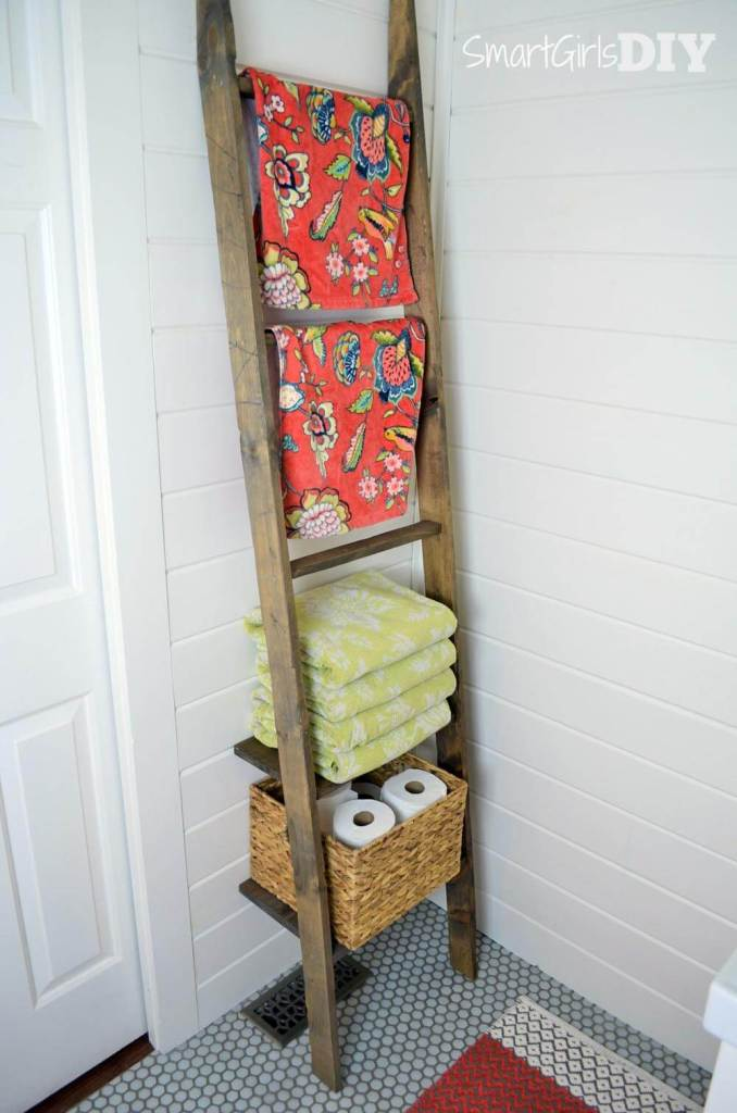 DIY bathroom storage ladder with accents from Cost Plus World Market