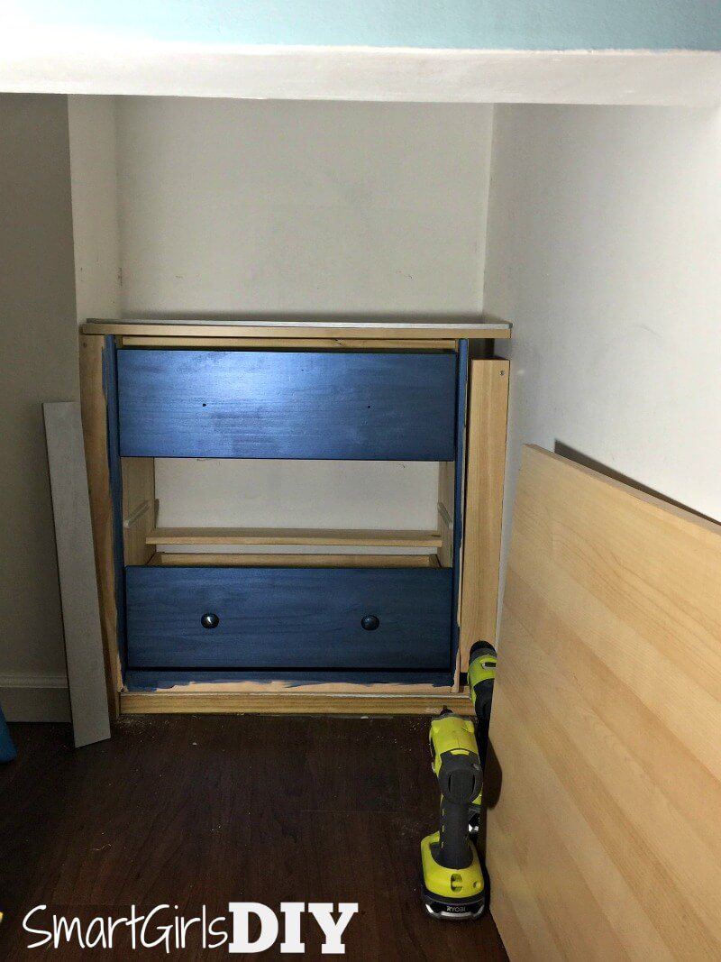 Installing an IKEA RAST dresser under my staircase
