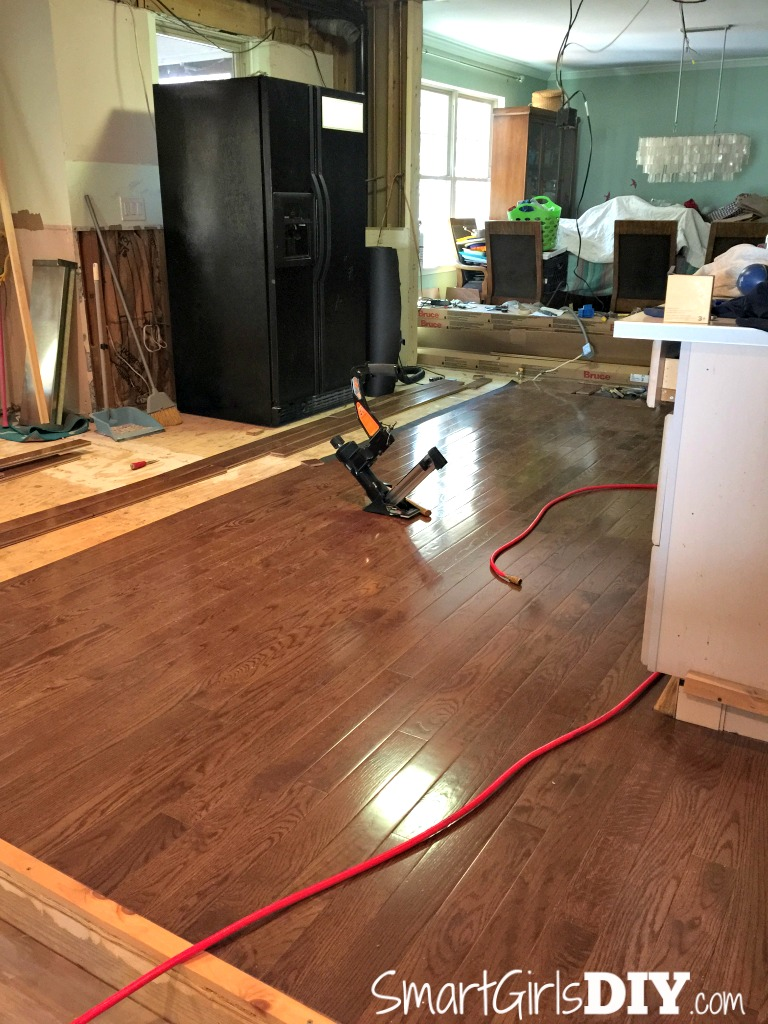 DIY Kitchen hardwood flooring