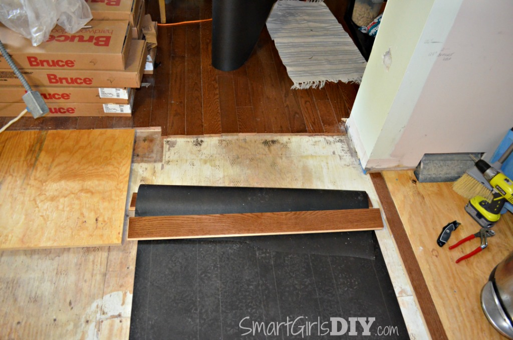 Hardwood flooring transition will have to be perpendicular