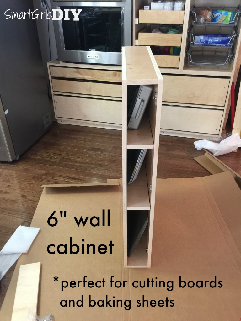 6 inch wall cabinet is perfect for cutting boards and baking sheets