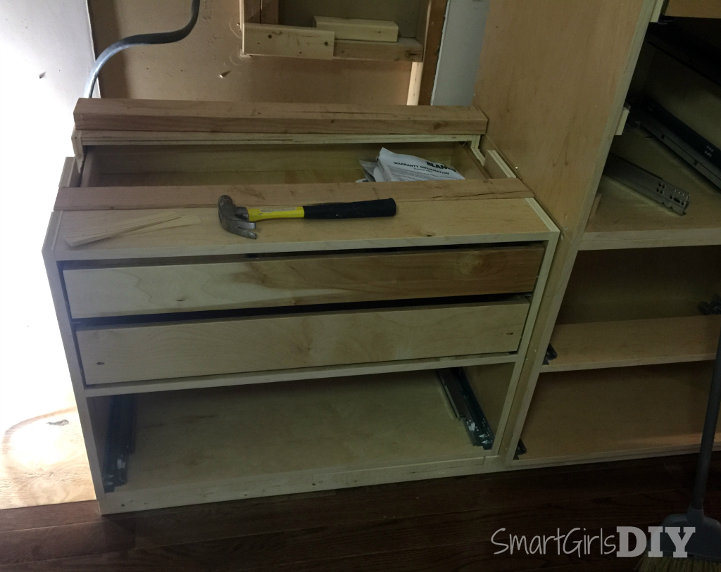 ... Notched Out Base Cabinet From Barker Cabinets To Support Weight Of  Double Wall Oven