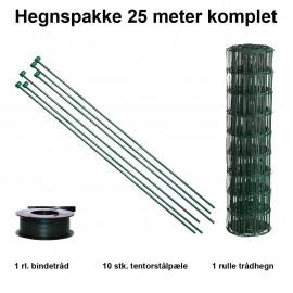 25 Meter Havehegn Inkl. 10 Stk. Tentorpæle Og 60 Meter Bindetråd - Maskestr. 10x10 Cm H:90 Cm