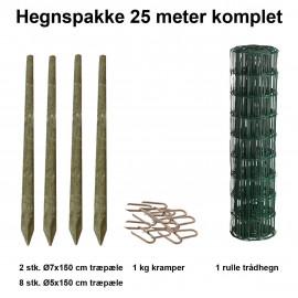 25 Meter Havehegn Inkl. 10 Stk. Træpæle Og 1 Kg Kramper - Maskestr. 5x10 Cm H:80 Cm