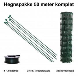 50 Meter Havehegn Inkl. 20 Stk. Tentorpæle Og 60 Meter Bindetråd - Maskestr. 10x10 Cm H:90 Cm