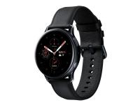 Samsung Galaxy Watch Active 2 - 40 mm - sort rustfrit stål - smart ur med bånd - læder - sort - display 1.2 - 4 GB - Wi-Fi, NFC, Bluetooth - 37 g (N