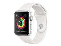 Apple Watch Series 3 (GPS) - 38 mm - sølvaluminium - smart ur med sportsbånd - fluoroelastomer - hvid - håndledsstørrelse: 130-200 mm - 8 GB - Wi-Fi,