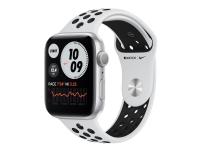 Apple Watch Nike Series 6 (GPS) - 44 mm - sølvaluminium - smart ur med Nike-sportsbånd - fluoroelastomer - ren platin/sort - båndstørrelse: S/M/L - 3