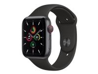 Apple Watch SE (GPS + Cellular) - 44 mm - rumgråt aluminium - smart ur med sportsbånd - fluoroelastomer - sort - båndstørrelse: S/M/L - 32 GB - Wi-Fi