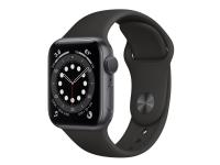 Apple Watch Series 6 (GPS) - 40 mm - rumgråt aluminium - smart ur med sportsbånd - fluoroelastomer - sort - båndstørrelse: S/M/L - 32 GB - Wi-Fi, Blu