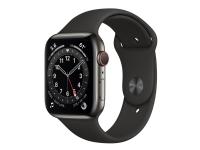 Apple Watch Series 6 (GPS + Cellular) - 44 mm - grafit rustfrit stål - smart ur med sportsbånd - fluoroelastomer - sort - båndstørrelse: S/M/L - 32 G