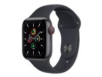 Apple Watch SE (GPS + Cellular) - 40 mm - rumgråt aluminium - smart ur med sportsbånd - fluoroelastomer - midnat - båndstørrelse: Almindelig - 32 GB