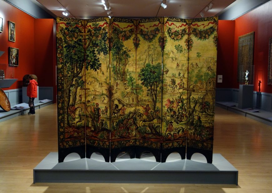 Folding Screen with the Siege of Belgrade (front) and Hunting Scene (reverse), c. 1697-1701, Mexico, oil on wood, inlaid with mother-of-pearl, 229.9 x 275.8 cm (Brooklyn Museum)