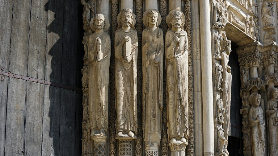 Jamb figures, Royal Portal, Notre-Dame de Chartres Cathedral, photo: Steven Zucker CC BY-NC-SA 2.0