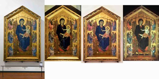 Duccio di Buoninsegna, Rucellai Madonna. Click links for full size images: left to right: Smarthistory, Google Art Project, Wikimedia Italy, Artstor* These are the highest quality images we could find on the web as of November 2, 2018.