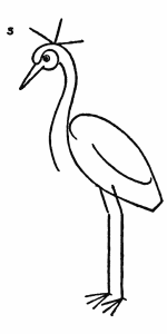 Drawing for kids step by step - Crested Crane 5