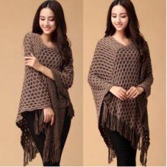 2016-New-Women-Batwing-Knitwear-Tassels-Hem-loose-Pullover-irregularity-Cloak-Poncho-Cape-Tops-Knitting-Sweater