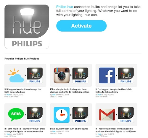 IFTTT  Philips hue Channel 1