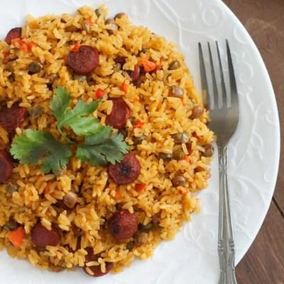 Pigeon Peas Rice with Sausage (Moro de Guandules y Salchichas)