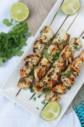Grilled Garlic Cilantro Chicken Skewers | SmartLittleCookie.net