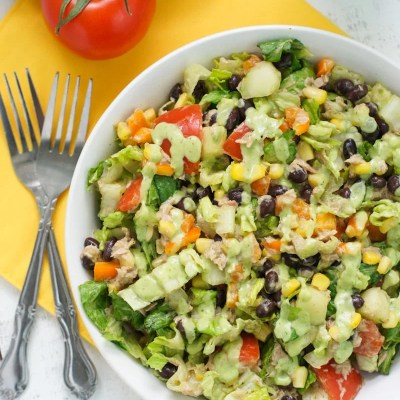 Tuna Black Bean Chipotle Salad with Cilantro Avocado Dressing