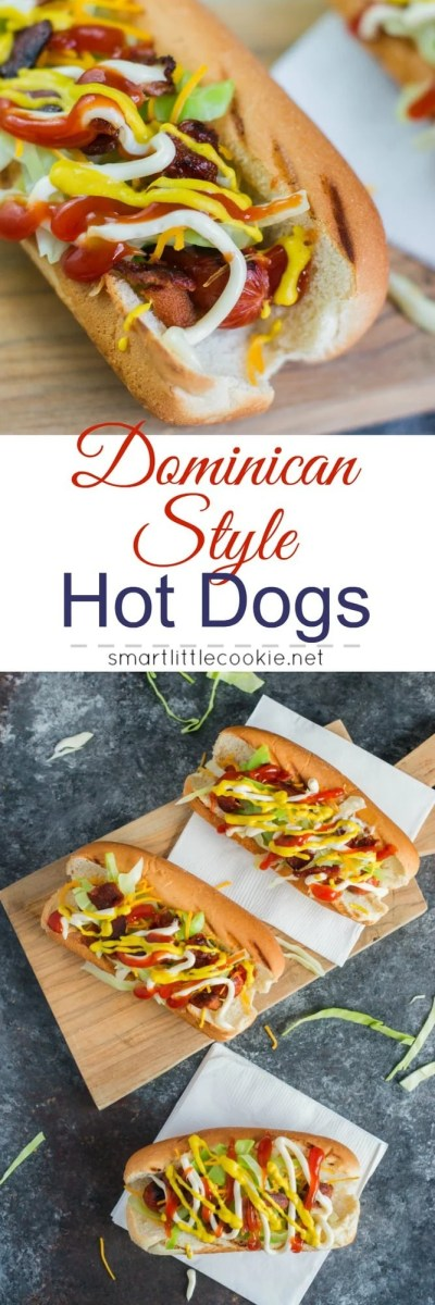 Topped with cheese, bacon, shredded cabbage, mayo, ketchup and mustard, these Dominican Style Hot Dogs are perfect for a Memorial Day cookout or any grilling occasion. #ad