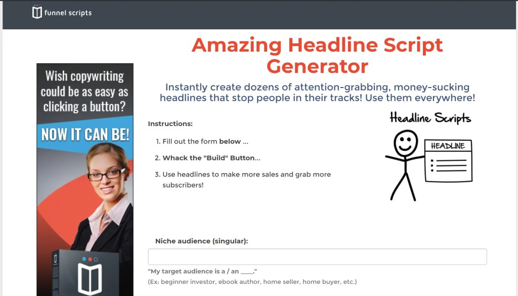 Free Funnel Scripts Trial with the Headline Script Generator for high converting copy to boost sales and subscribers