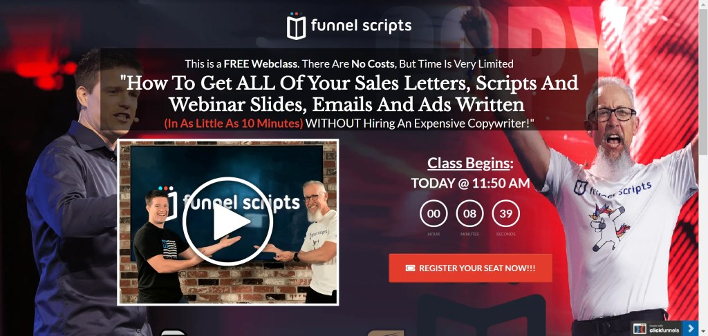 Funnel Scripts Free Webclass on how to get all your sales letters, scripts and webinar slides, emails and ads written without hiring an expensive copywriter