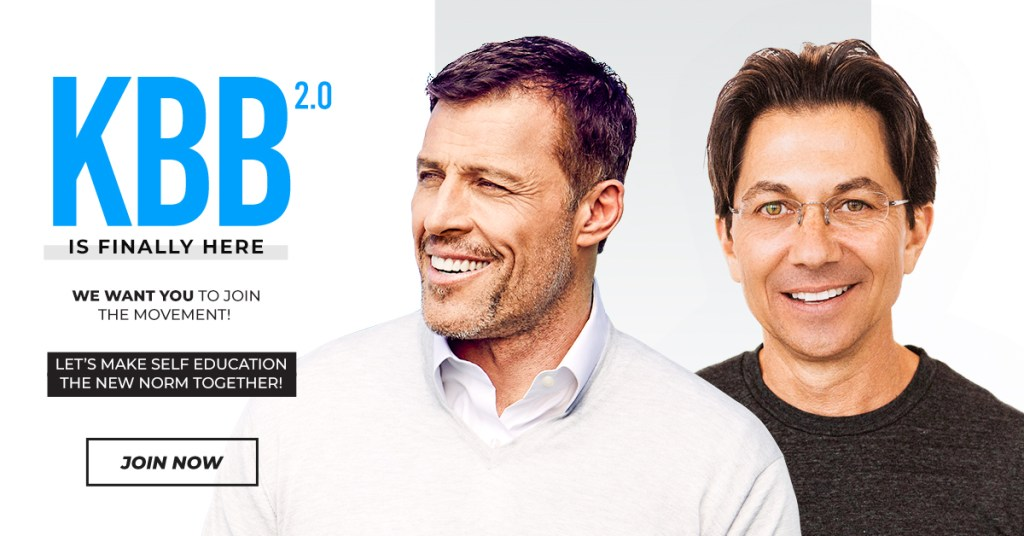 Knowledge Broker Blueprint (KBB 2.0) is a 6 module self-education program created by Tony Robbins & Dean Graziosi to use your knowledge or someone else's, into something that makes a massive impact.