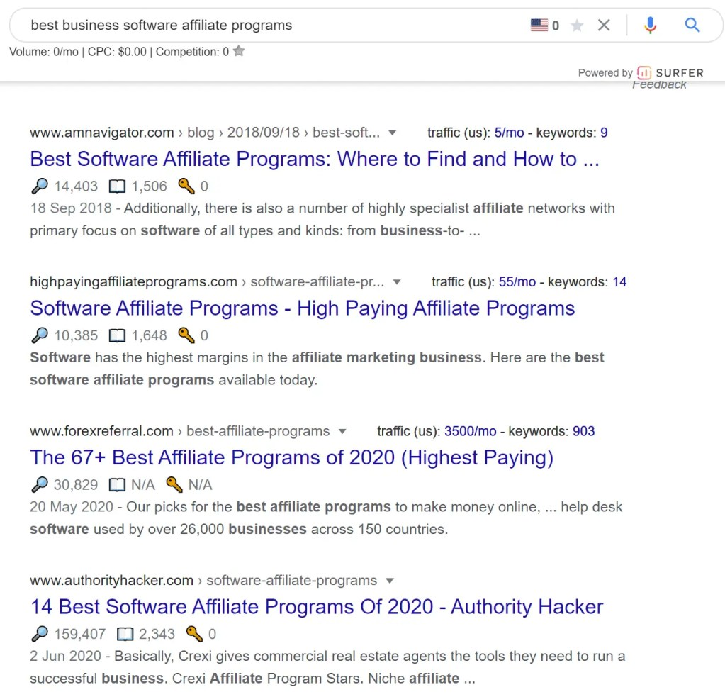 "Result of Google search for long tail keywords ""Best Business Software Affiliate Programs"""