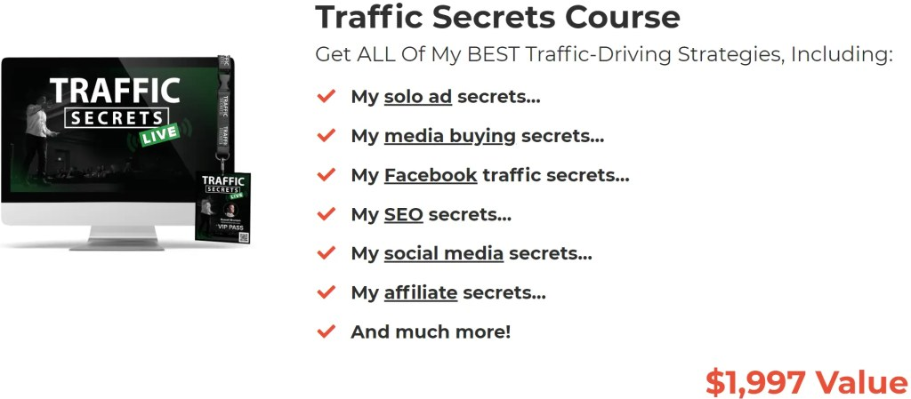 Funnel Hacking Secrets Masterclass combines 6 months of ClickFunnels Platinum at a 44% discount price of $997 with bonus training programs including Traffic Secrets Course