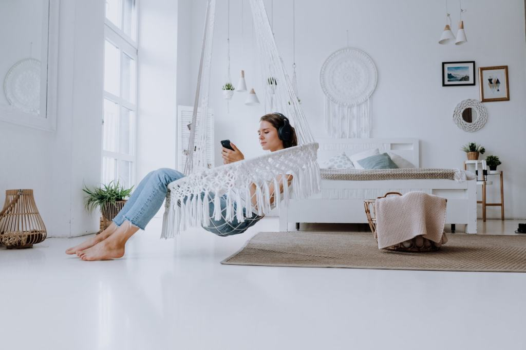 woman relax phone