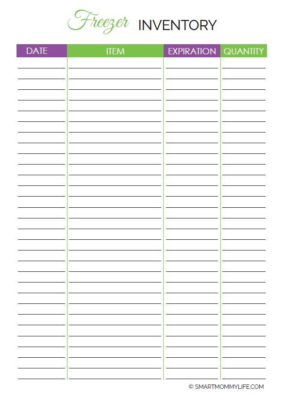 Free freezer inventory to keep track of stock in the freezer so that you only buy what you need. Free printable to help you stay organized and on a budget