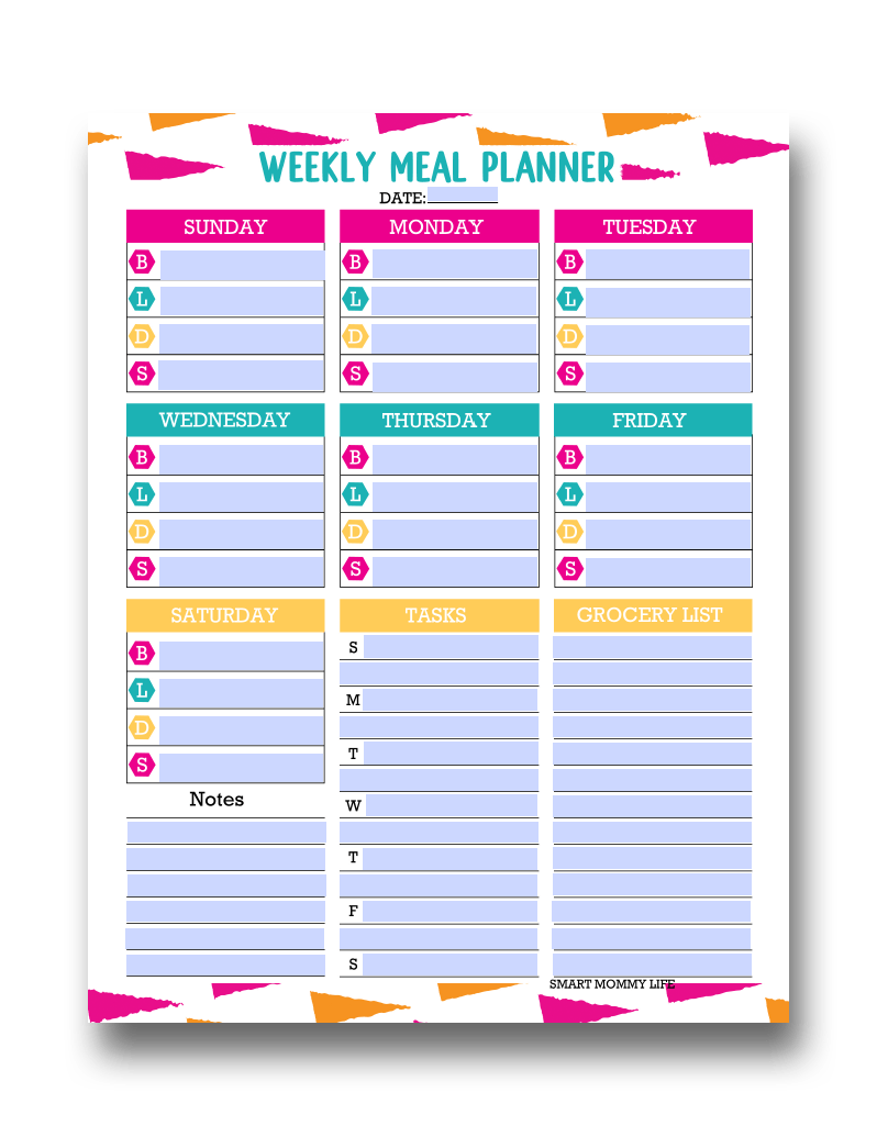Super cute, blank and free editable printable meal planner to menu plan weekly meals for the family