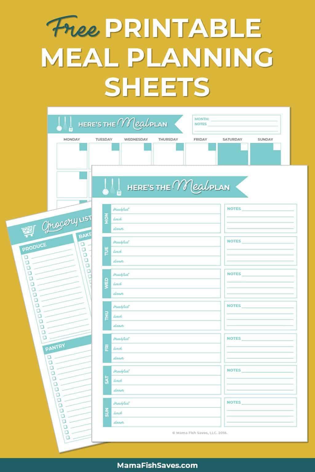 Meal Planning Worksheets