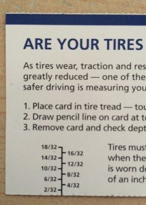 Check tire tread depth with card ruler