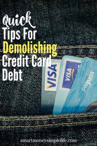 Beat money-stress by paying off your debt with these quick tips for demolishing your credit card debt.