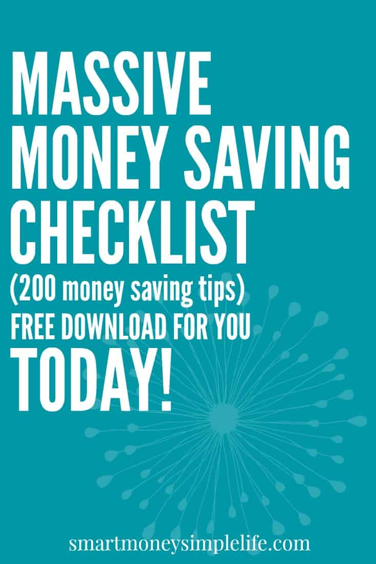 Massive Money Saving Checklist. This checklist includes 200 money saving ideas to help you keep your budget under control.