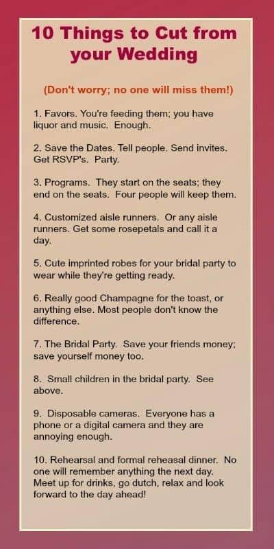 Budget Wedding | Save money list