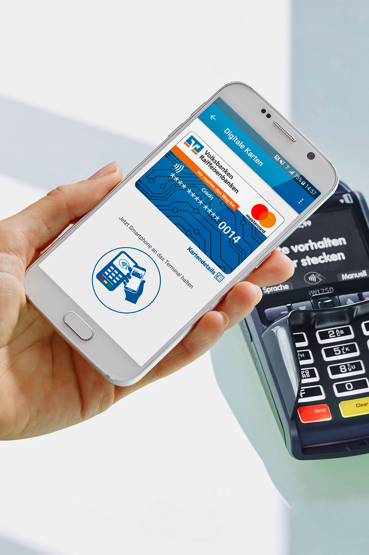 Das kontaktlose Bezahlen mit dem Smartphone ist grundsätzlich überall dort im Handel möglich, wo man auch heute kontaktlos mit der Karte bezahlen kann.