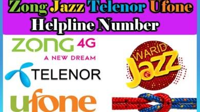 Zong Jazz Telenor And Ufone Helpline Number