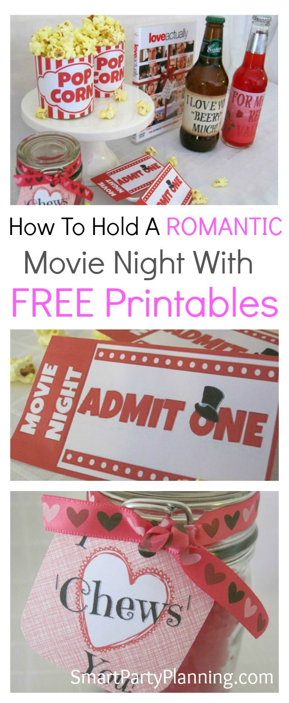 "Need a bit of romance at your next in home movie night? These DIY ideas will ensure you have a fun filled evening snuggled up on the couch with your loved one. Isn't that the perfect way to say ""I love you""? Make the night even more fun with free printable's."