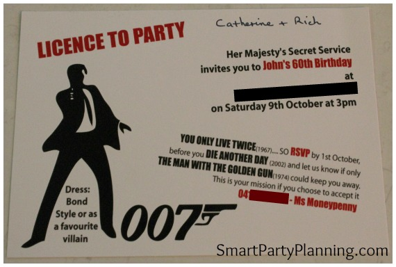 James Bond Theme Party Invitation