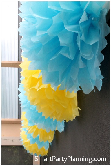 Blue and Yellow Tissue Paper Pom Poms
