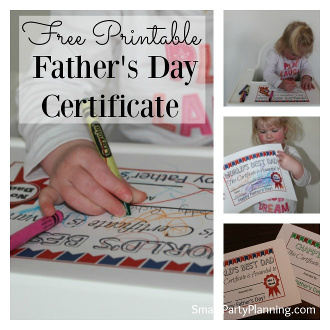 Free father's day certificate